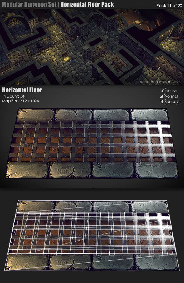 Modular Dungeon Set|Horizontal Floor Pack (11of20) - 3DOcean Item for Sale