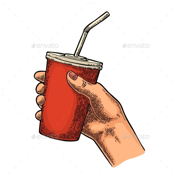 Female Hand Holding Paper Red Cup - Food Objects