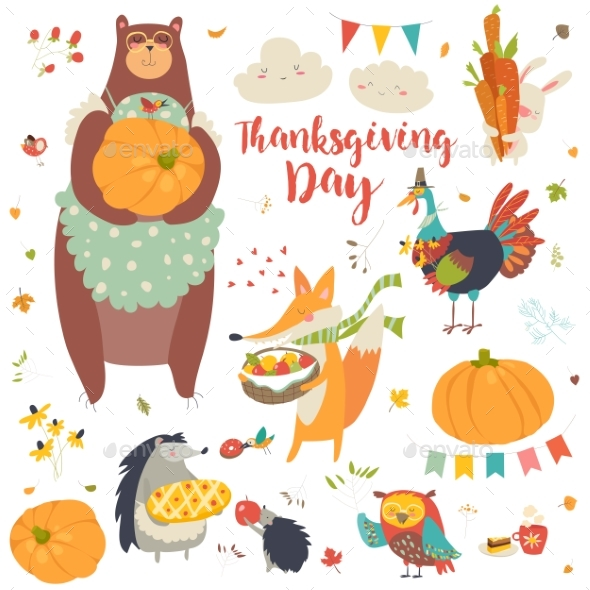 Thanksgiving Set with Forest Animals - Animals Characters