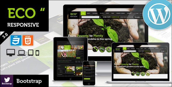 ECO Responsive Environment WordPress Theme - Environmental Nonprofit