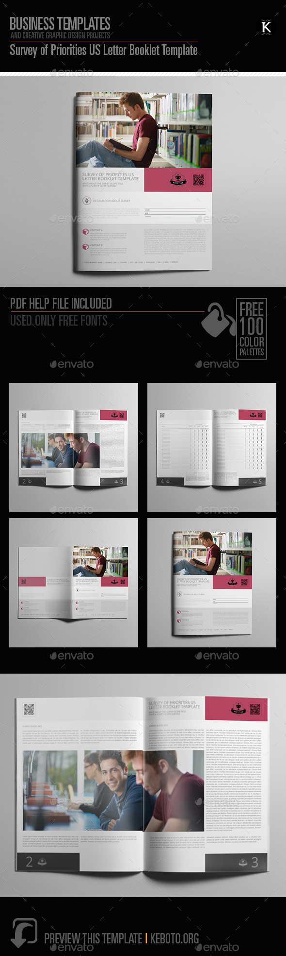 Survey of Priorities US Letter Booklet Template - Miscellaneous Print Templates
