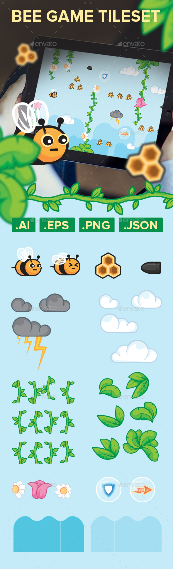 Flying Bee Game Assets Tileset - Game Kits Game Assets