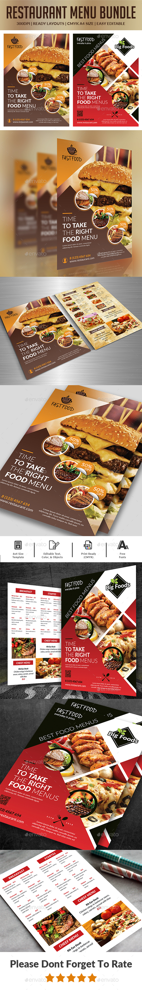 Food Menu Flyers Bundle - Food Menus Print Templates