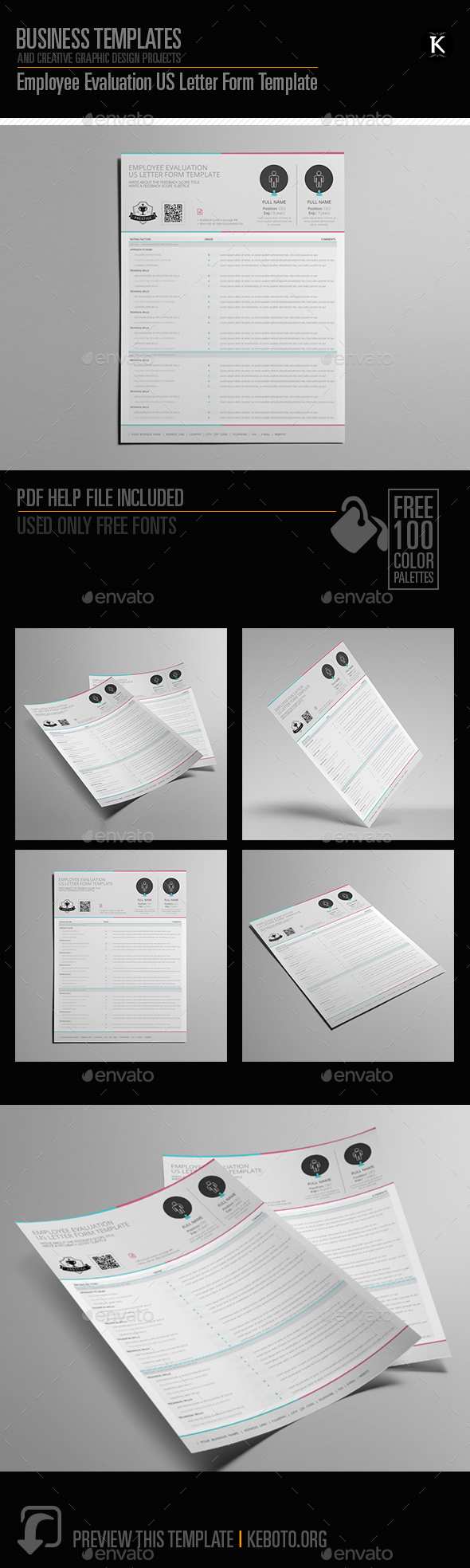 Employee Evaluation US Letter Form Template - Miscellaneous Print Templates