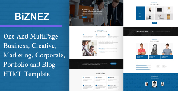 Biznez - Responsive Corporate, Business, Creative , Portfolio & Blog HTML Website