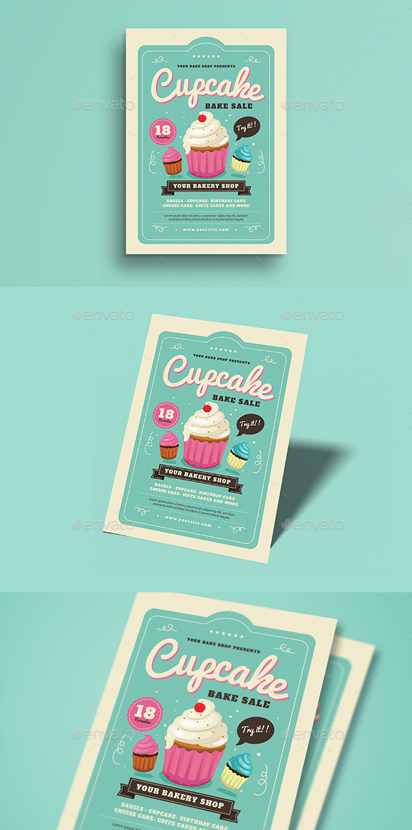 Cupcake Bake Sale Flyer - Commerce Flyers