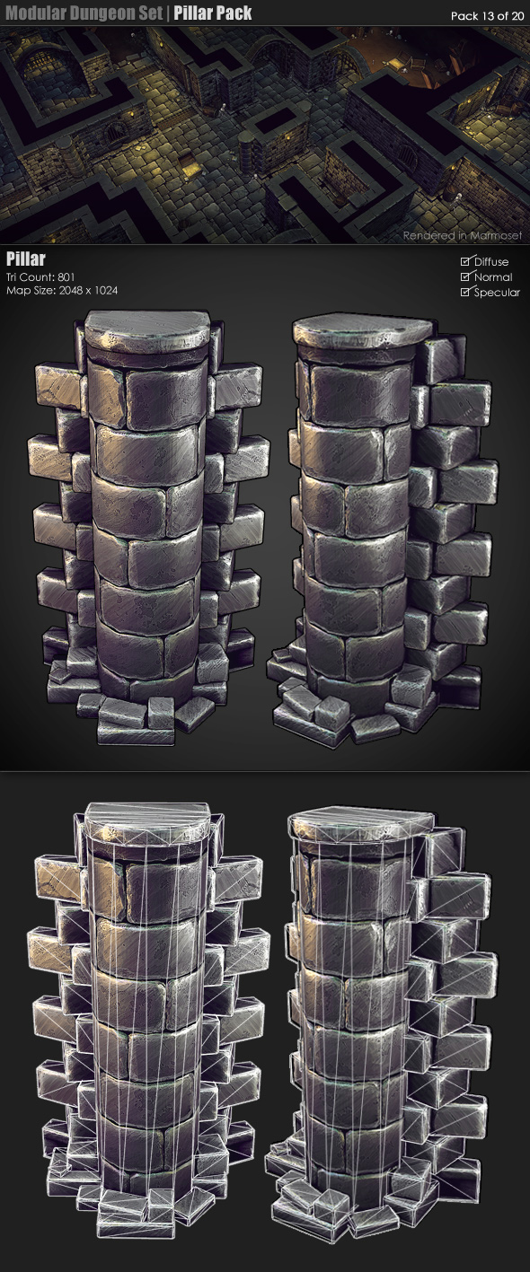 Modular Dungeon Set | Pillar Pack (13 of 20) - 3DOcean Item for Sale
