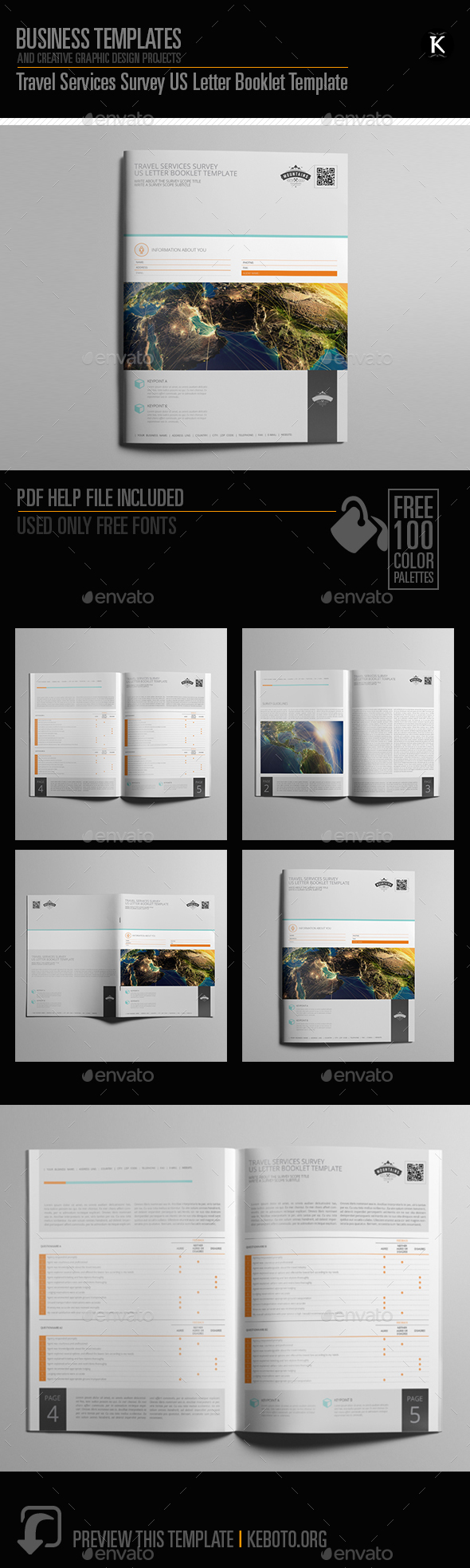 Travel Services Survey US Letter Booklet Template - Miscellaneous Print Templates
