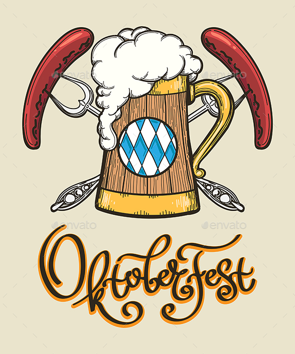 Beer Mug Oktoberfest Emblem - Food Objects