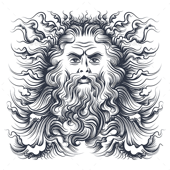 GraphicRiver Neptune Head Illustration 20551951