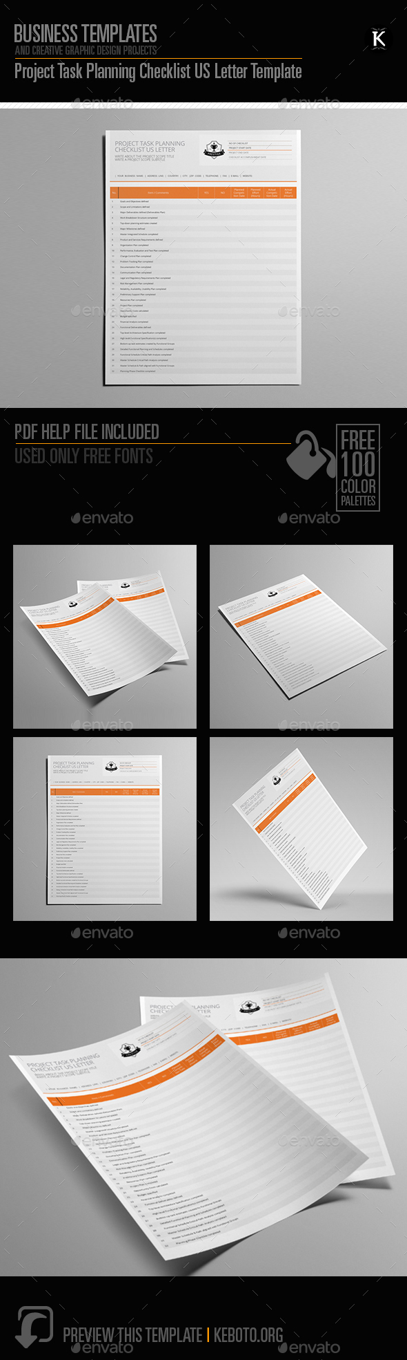 GraphicRiver Project Task Planning Checklist US Letter Template 20552049