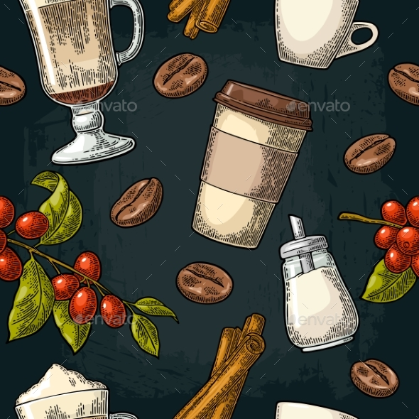 GraphicRiver Seamless Pattern of Latte Sugar and Beans 20552055