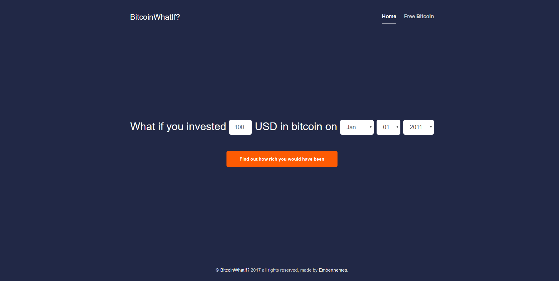 Bitcoin What If? - Historic Investment Calculator