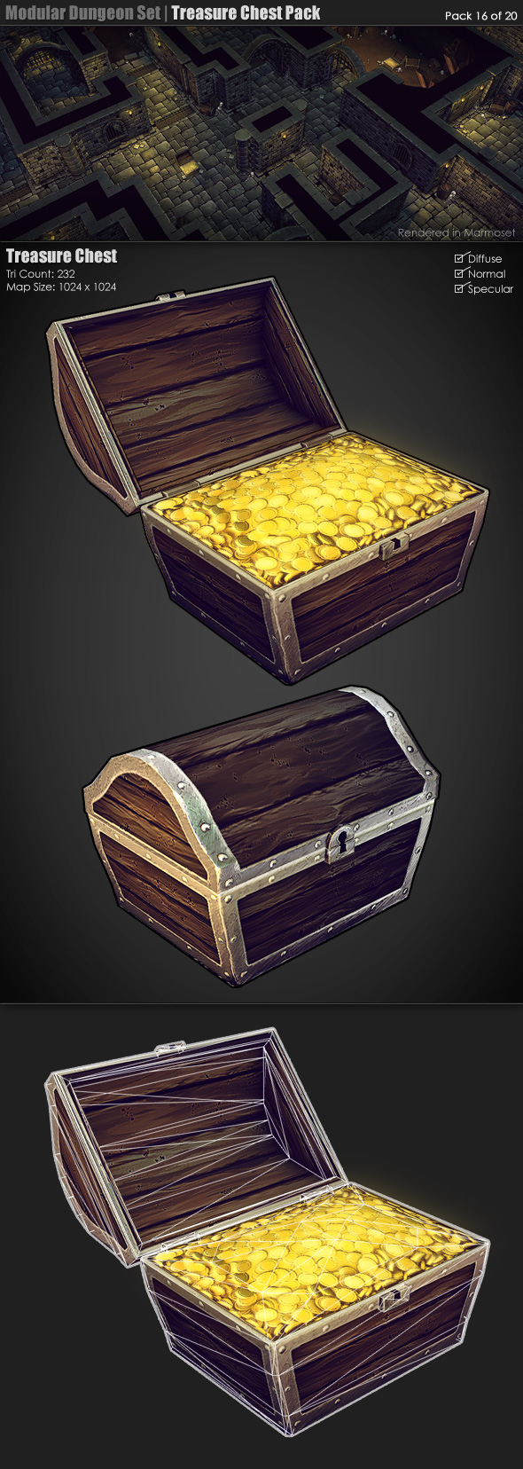 Modular Dungeon Set|Treasure Chest Pack (16 of 20) - 3DOcean Item for Sale