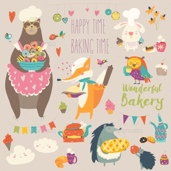 GraphicRiver Animals Baking the Sweets 20552332