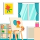 Art Studio Design Interior, Vector Illustration