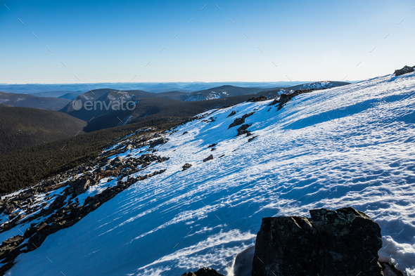 Top of Richardson Mountain in National Park of Gaspe in Quebec, - Stock Photo - Images