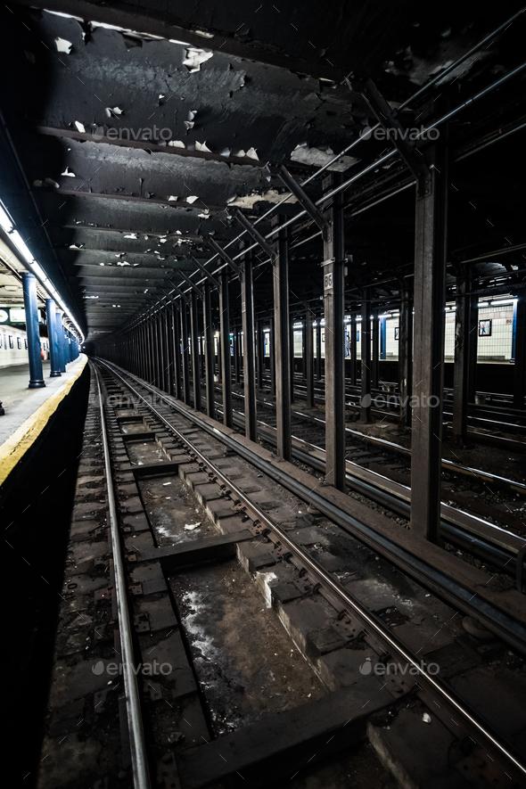 Underground Empty Subway Station Dock in New York City on line t