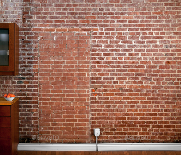 amusing industrial kitchen brick wall   Industrial Old Flat Brick Wall Perspective in a kitchen ...