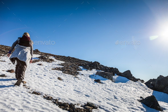 Woman Reaching the Top of Richardson Mountain in National Park o - Stock Photo - Images