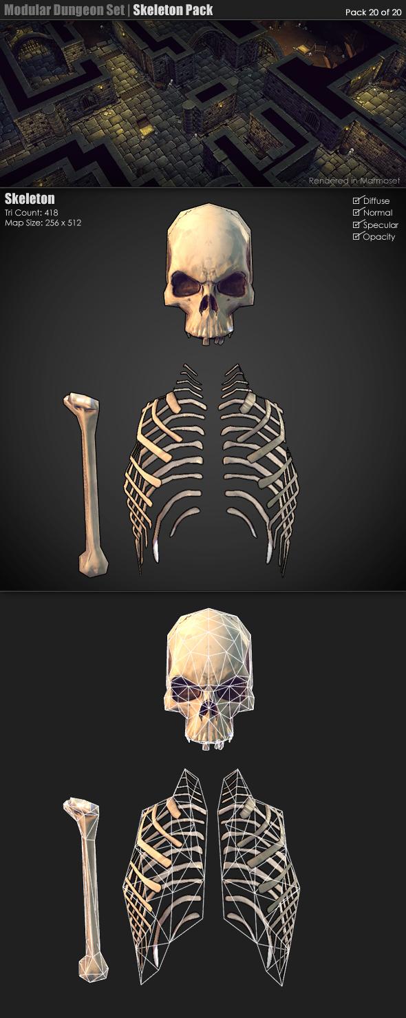 Modular Dungeon Set | Skeleton Pack (20 of 20) - 3DOcean Item for Sale