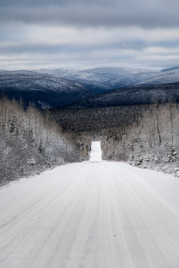Winter Landscape from Top of Mountain in Canada, Quebec Road wit - Stock Photo - Images