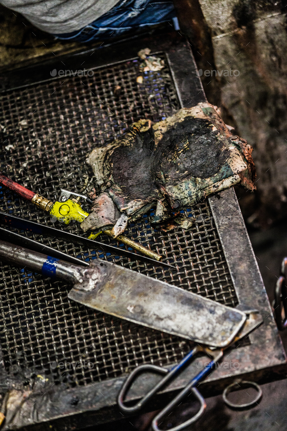 Set of different Glassblowing Tools on a Table. - Stock Photo - Images