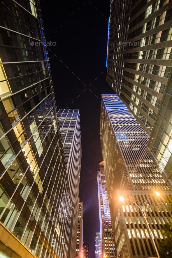 High Skyscrapers near Timesquare at Night in Manhattan - Stock Photo - Images
