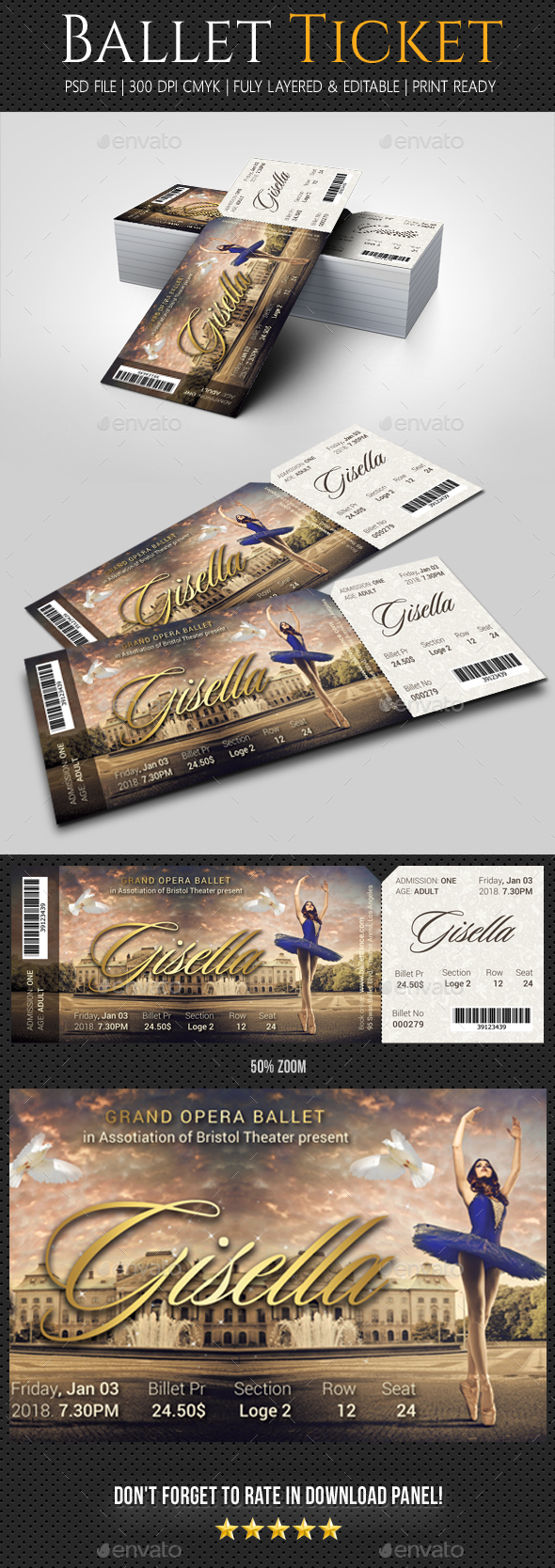 Ballet Ticket - Cards & Invites Print Templates