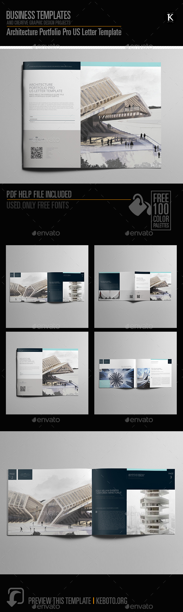 architecture portfolio pro us letter template by keboto graphicriver. Black Bedroom Furniture Sets. Home Design Ideas