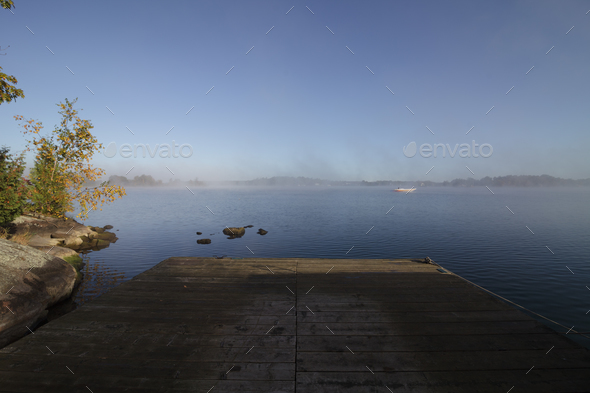 Dock on a Foggy Calm Morning - Stock Photo - Images