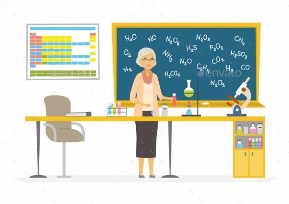 Chemistry Teacher - Modern Cartoon People - People Characters