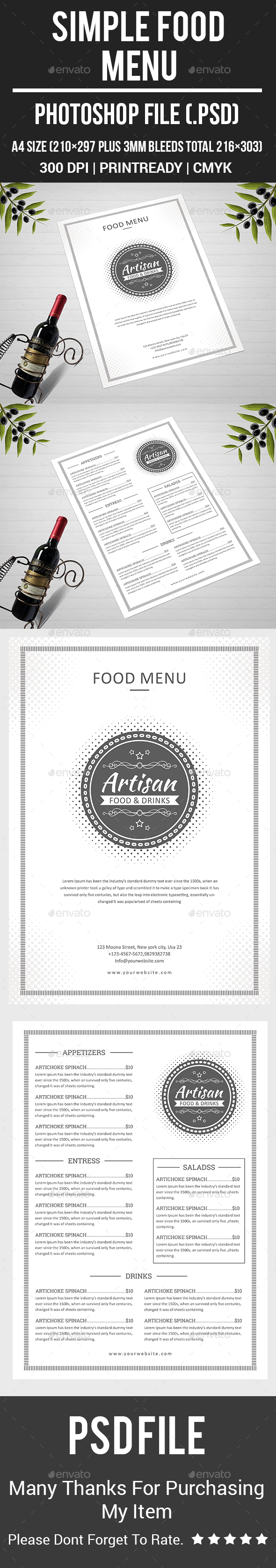 Simple Food Menu - Food Menus Print Templates