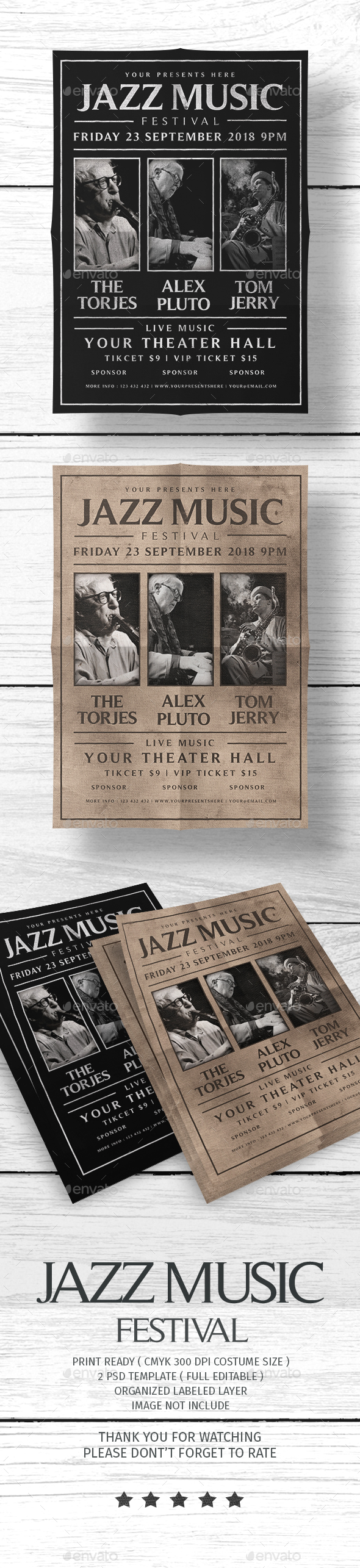 Jazz Music Festival Flyer - Concerts Events