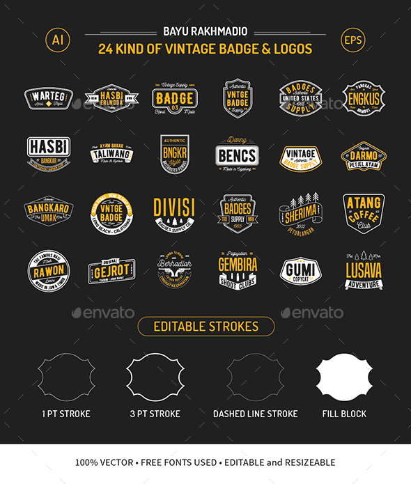 24 Vintage Badges - Badges & Stickers Web Elements