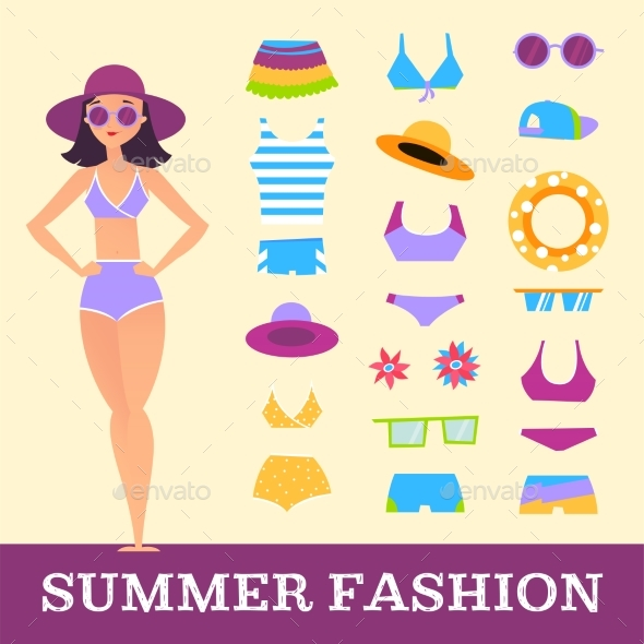 Beach Fashion. Girl and Miscellaneous Clothes - Objects Vectors