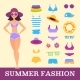 Beach Fashion. Girl and Miscellaneous Clothes