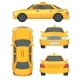 Different Views of Taxi Yellow Car. Automobile