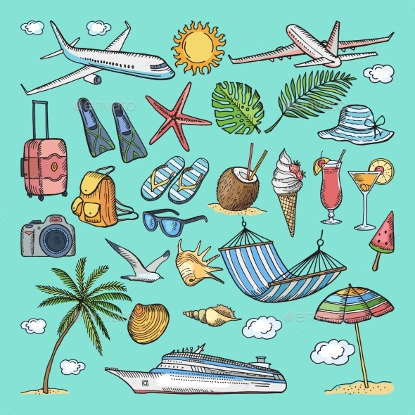 GraphicRiver Different Hand Drawn Coloring Summer Icons Set 20554141