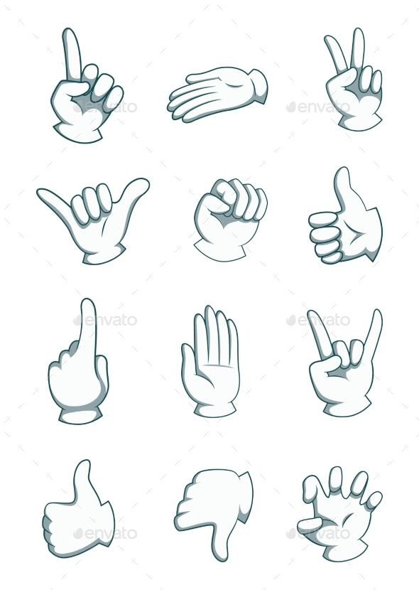 GraphicRiver Cartoon Hands in Different Positions 20554156