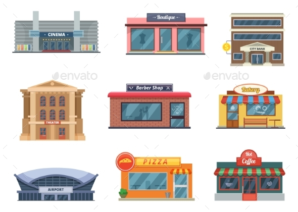 Shops and Municipal Buildings, Mini Stores - Buildings Objects