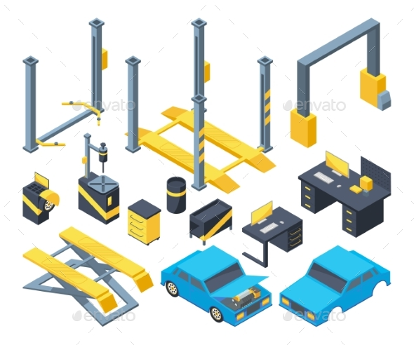Auto Service with Different Equipment - Man-made Objects Objects