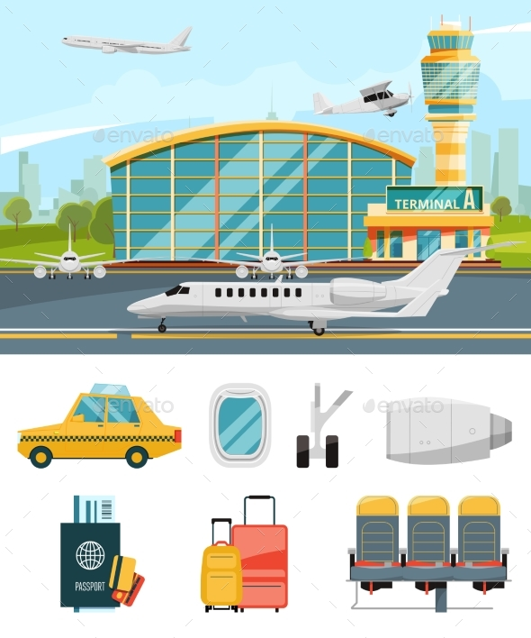 Airport Terminal Illustration - Objects Vectors