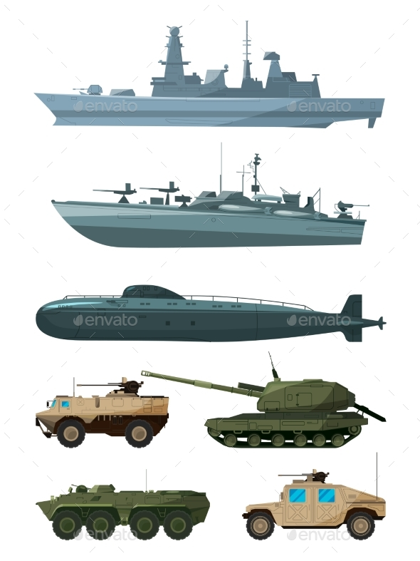 GraphicRiver Warships and Armored Vehicles of Land Forces 20554193