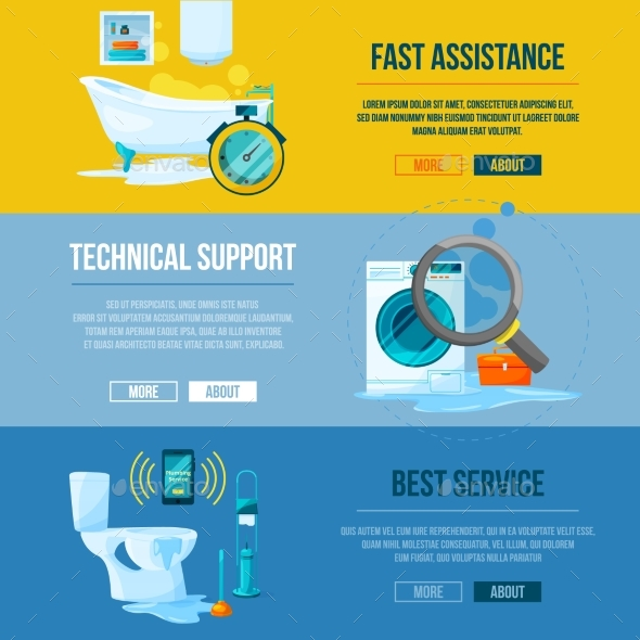 GraphicRiver Plumbing Works Toilet Bathroom and Kitchen Water 20554197