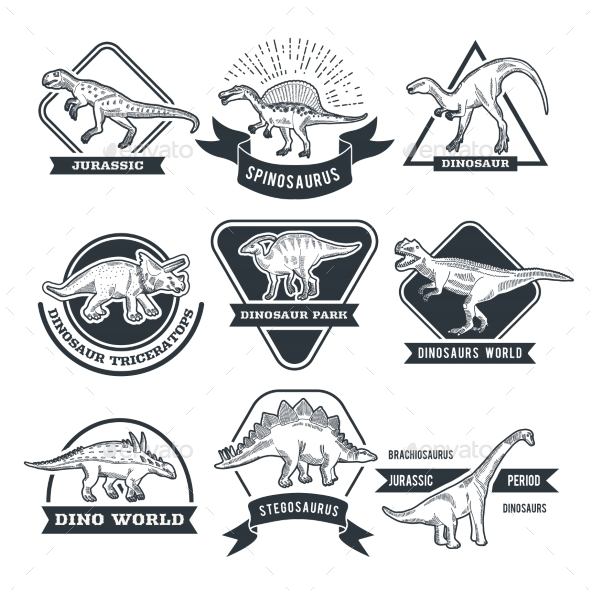Monochrome Grunge Labels Set with Different Dinosaurs - Animals Characters