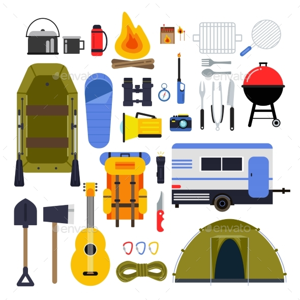 GraphicRiver Camping Equipment for Travel Hiking Accessories 20554247