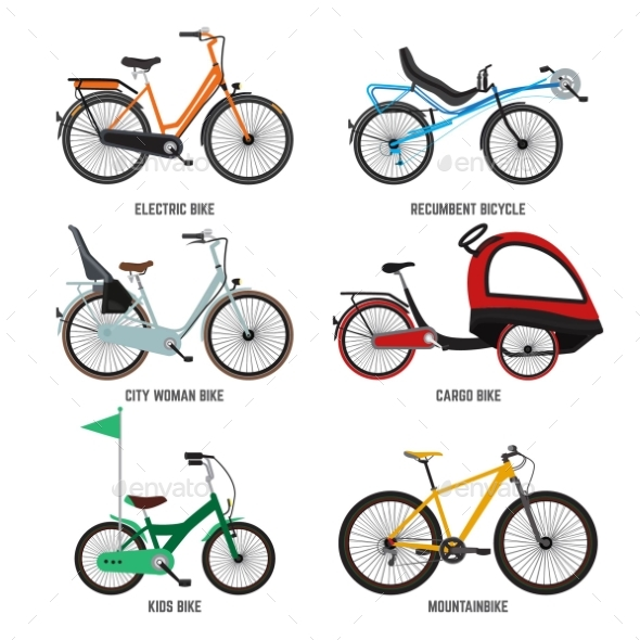 Different Type of Bicycles for Male Female - Objects Vectors