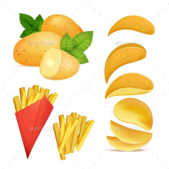Vector Illustrations of Snacks or Chips. Pictures - Food Objects