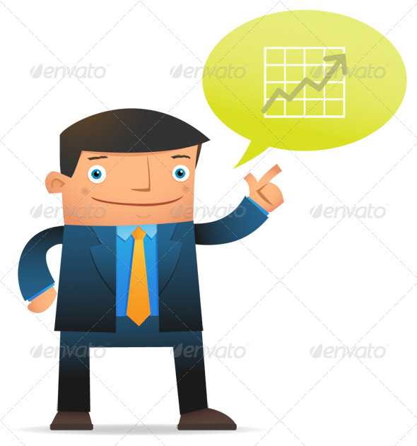 Businessman Talk About Profit - Characters Illustrations